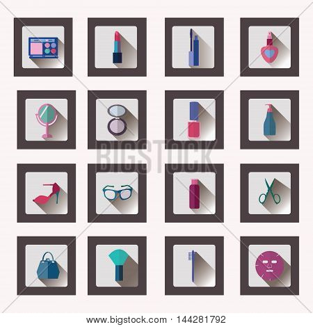 Vector Icon Set of Cosmetics Make Up and Beauty objects Accessories Symbols in flat style with long shadow- Illustration