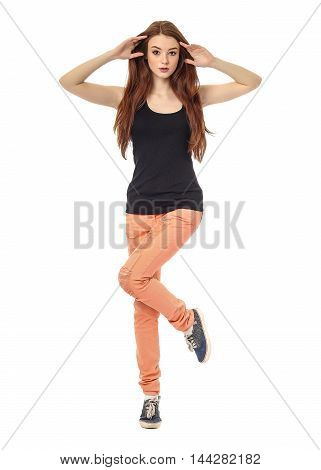Portrait Of Young Model In Coral Jeans