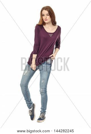Portrait Of Stylish Young Model In Blue Jeans