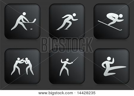 Sport Icons on Square Black Button Collection Original Illustration