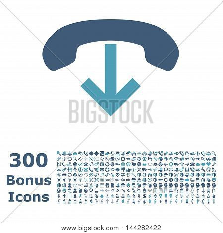 Phone Hang Up icon with 300 bonus icons. Vector illustration style is flat iconic bicolor symbols, cyan and blue colors, white background.