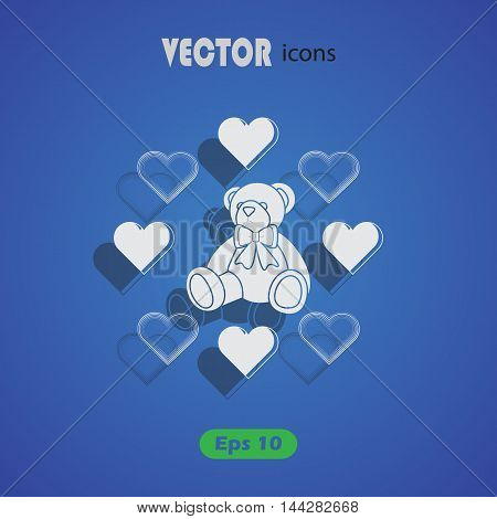Teddy bear - Valentine's Day vector icon