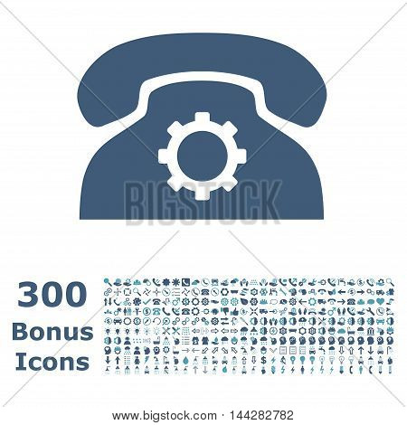 Phone Settings icon with 300 bonus icons. Vector illustration style is flat iconic bicolor symbols, cyan and blue colors, white background.