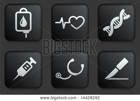 Medical Icons on Square Black Button Collection Original Illustration