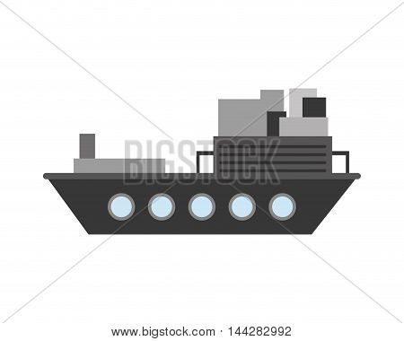 flat design merchant container ship icon vector illustration