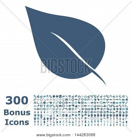 Plant Leaf icon with 300 bonus icons. Vector illustration style is flat iconic bicolor symbols, cyan and blue colors, white background.