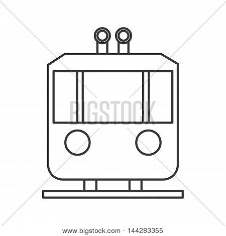 flat design tramway frontview icon vector illustration