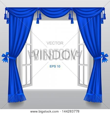 Open white double window with classic blue blinds and transparent glass. Vector illustration