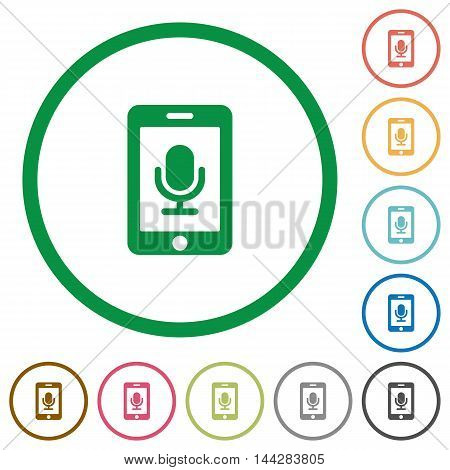 Set of mobile recording color round outlined flat icons on white background