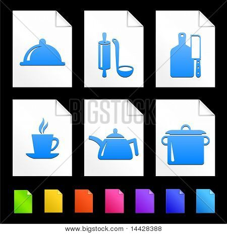 Food Preparation Icons on Colorful Paper Document Collection Original Illustration