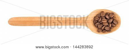 coffee beans in wooden spoon. isolated, white