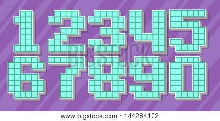 A vector illustration of blue pixel number set on violet background