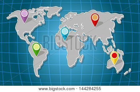 A vector illustration of illustration global world map with colorful markers