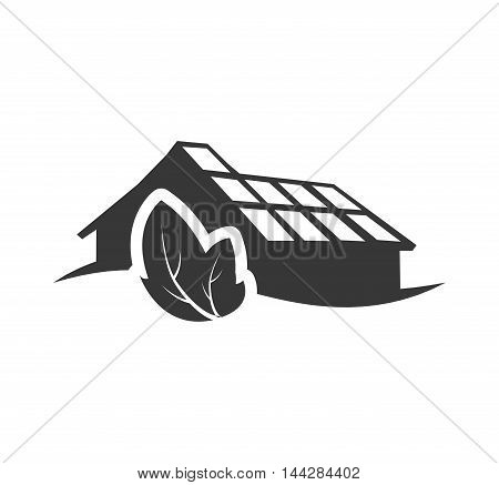 leaf factory industry ecology silhouette icon. Flat and Isolated design. Vector illustration