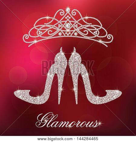 Glamour design elements. Elegant ladies high heels shoe shape, made with shiny diamonds. And crystals diadem. Isolated on the red blurred background. Vector illustration.