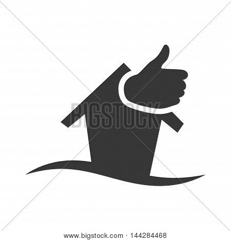 thumbs up house home ecology  silhouette icon. Flat and Isolated design. Vector illustration