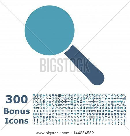 Search Tool icon with 300 bonus icons. Vector illustration style is flat iconic bicolor symbols, cyan and blue colors, white background.