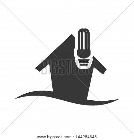 light bulb house home ecology silhouette icon. Flat and Isolated design. Vector illustration