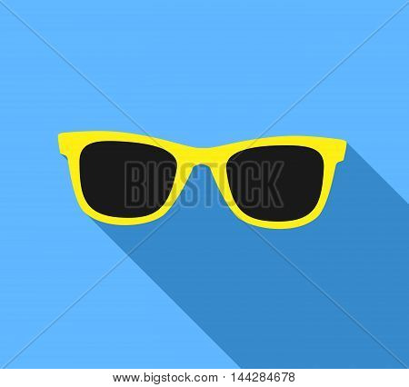 Yellow Sunglasses icon with long shadow. Flat design style