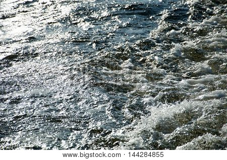 Texture. Background. Water Under The Setting Sun