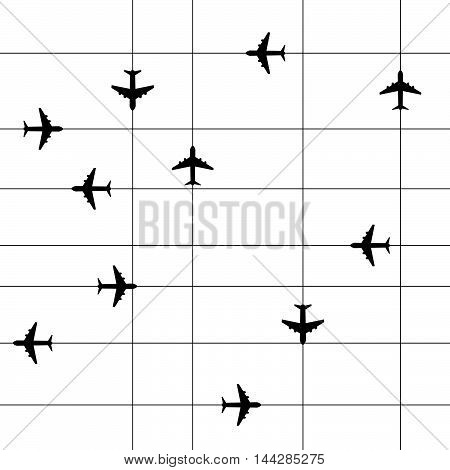 Airplane Travel Paradise Set With Line Illustration In Black