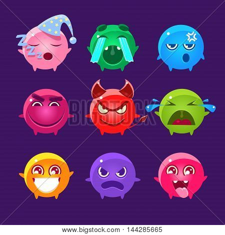 Spherical Characters Of Different Colors Emoji Set.Cute Emoticons In Cartoon Childish Style Isolated On Dark Background.
