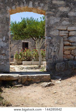 Doorway to Ancient Aptera Archaeology Site in Crete
