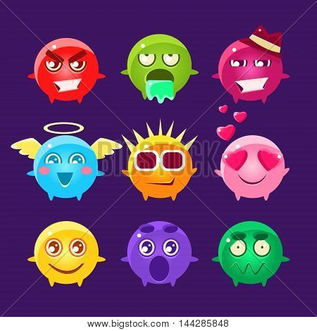 Collection Of Round Character Emoji Icons.Cute Emoticons In Cartoon Childish Style Isolated On Dark Background.