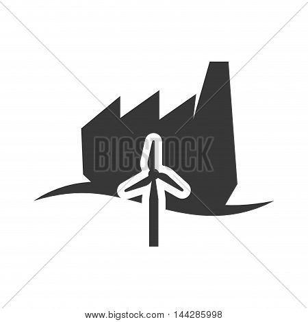windmill factory industry ecology silhouette icon. Flat and Isolated design. Vector illustration
