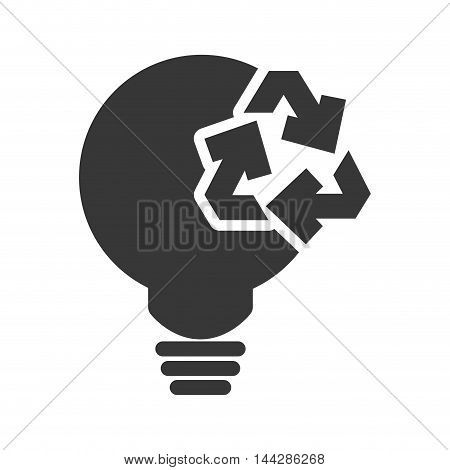 light bulb recycle ecology silhouette icon. Flat and Isolated design. Vector illustration