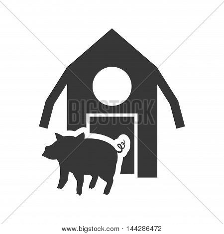 pig farm building silhouette icon. Flat and Isolated design. Vector illustration