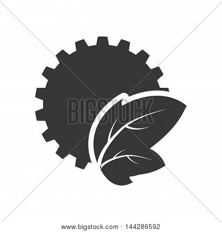 leaf gear ecology silhouette icon. Flat and Isolated design. Vector illustration
