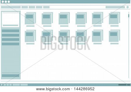 A vector illustration of interface frame window with folders design