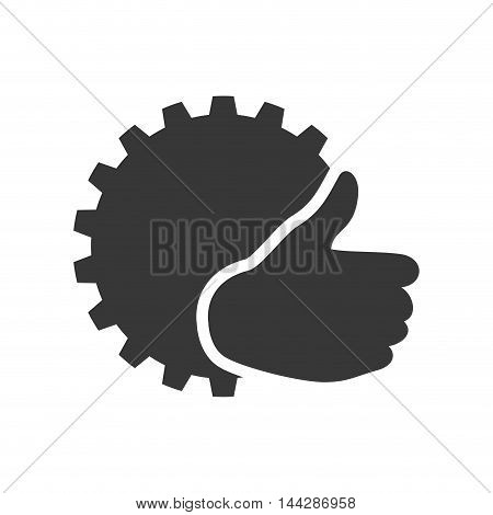 gear thumbs up ecology silhouette icon. Flat and Isolated design. Vector illustration