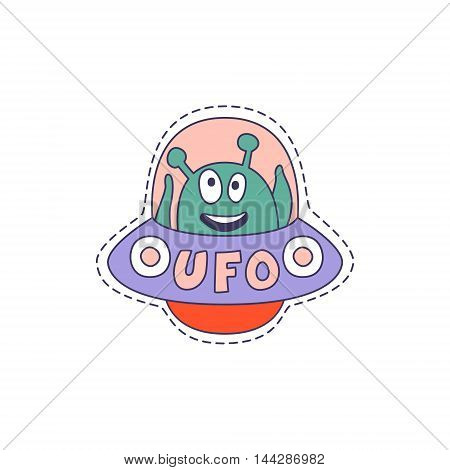 UFO With Alien Bright Hipster Sticker With Outlined Border In Childish Style