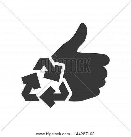 recycle thumbs up ecology silhouette icon. Flat and Isolated design. Vector illustration