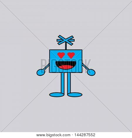Falling in Love - Cartoon Smiley Vector Face