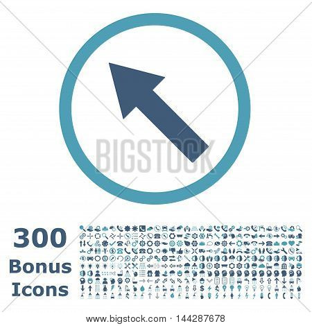 Up-Left Rounded Arrow icon with 300 bonus icons. Vector illustration style is flat iconic bicolor symbols, cyan and blue colors, white background.