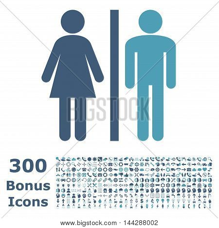 WC Persons icon with 300 bonus icons. Vector illustration style is flat iconic bicolor symbols, cyan and blue colors, white background.