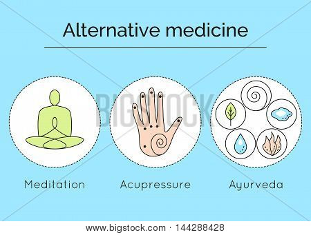 Set Of Linear Vector Icons With Types Of Alternative Medicine. Meditation, Acupressure And Ayurveda