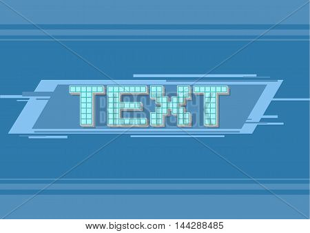 A vector illustration of vector pixel blue frame for text illustration