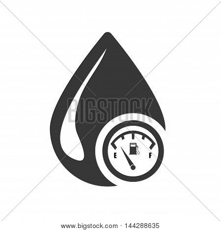 drop gauge petroleum gasoline oil industry silhouette icon. Flat and Isolated design. Vector illustration