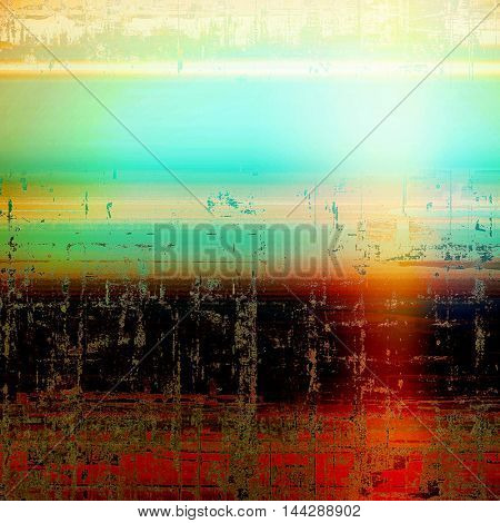 Vintage background, antique grunge backdrop or scratched texture with different color patterns: green; blue; red (orange); yellow (beige); cyan; black
