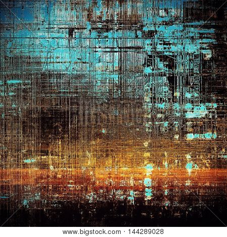Grunge background or vintage texture in traditional retro style. With different color patterns: blue; red (orange); yellow (beige); brown; cyan; black