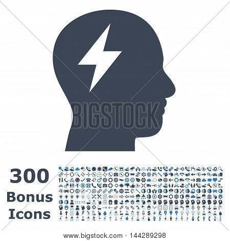 Brainstorming icon with 300 bonus icons. Vector illustration style is flat iconic bicolor symbols, smooth blue colors, white background.