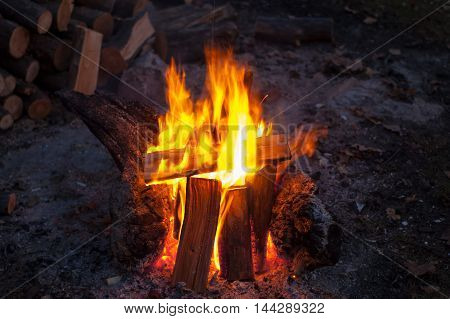 Texture, Background. The Fire In The Fire, The Cold Autumn Evening