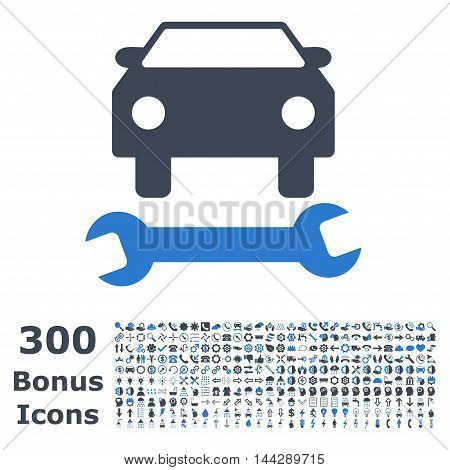 Car Repair icon with 300 bonus icons. Vector illustration style is flat iconic bicolor symbols, smooth blue colors, white background.