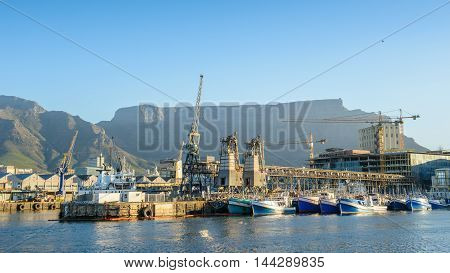 CAPE TOWN, SOUTH AFRICA - FEB 22, 2013: Boats in the harbour of Cape Town, South Africa. Cape town is the most popular international touristic destination in Africa