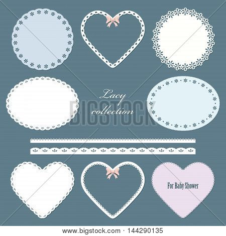 Lacy doilies. Oval round in the shape of heart napkins and straight lace set.