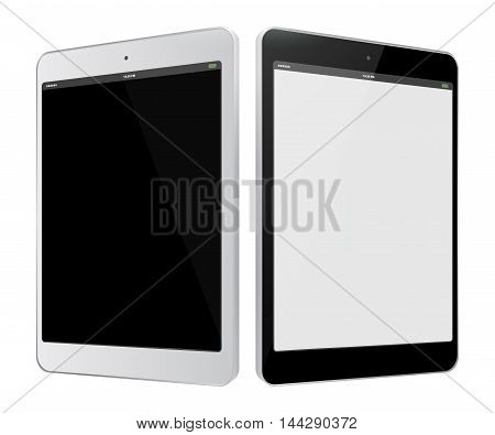 Black and White Tablet Computer Vector Illustration isolated on white.